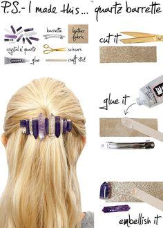 DIY Qaurtz Hair Barrette DIY Hair Accessories DIY Hair Clips DIY Barrettes