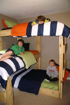 My boys on their triple bunk bed!!! :-)