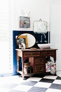 Rustic wood + sink