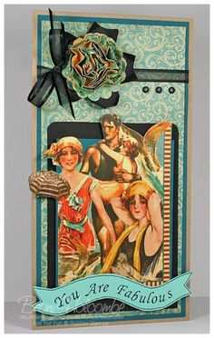 JFFCC4 Fabulous Bathing Beauty by waterchild12 - Cards and Paper Crafts at Splitcoaststampers.  Looks like G-45 paper?