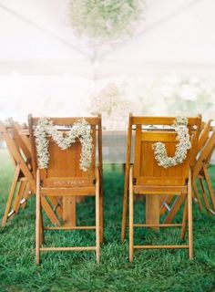 Baby's Breath Chair Monograms - We love the simplicity of this affair, held at a family residence in Indiana. Meghan and Josh's inspiration gave way to natural details such as pretty baby's breath and pink David Austin rose bouquets by Marcia's Flower Cart. The sweeter elements got a shot of rustic flair with barn wood tables built by Meghan's stepdad and planted succulent favors and centerpieces. The backyard venue provided surroundings