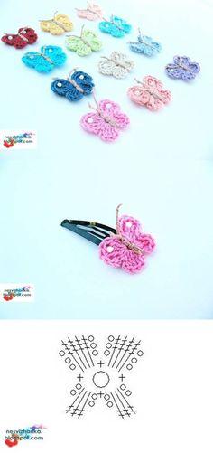craft, butterflies, butterfli clip, papillons, boxes, children, mariposa crochet clip, crochet butterfli, diy projects