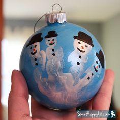 DIY Snowman Christmas Ornaments (Handprint Craft!)