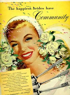 Happy vintage bride illustrated for Community Silverware ad, 1948.