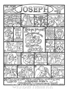 The Story of Joseph coloring page in three sizes: 8.5X11 | Etsy