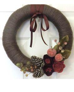Christmas Wreath, Yarn & Felt Handmade Holiday, Woodland Front Door Wreath,