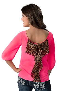 Karlie® Women's Neon Pink with Leopard Bow Back 3/4 Sleeve Fashion Blouse