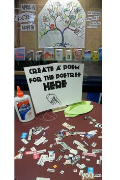 Poetree. Poetry month ideas. High school library. School displays. Cool ideas for high schools.