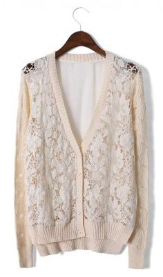 Lace Crochet Cardigan with Chiffon Back