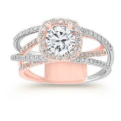 Halo Diamond Engagement Ring in 14k Rose and White Gold with Pave Setting with Brilliant Round Diamond
