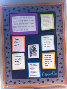 Teen Zone First Lines Bulletin Board.  Could adapt for any grade.