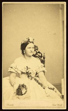 Mary Todd Lincoln loved wearing flowers in her hair, but she also loved the pearl necklace and bracelet set shown here in this Mathew Brady Studio portrait. You can see her wearing this same necklace and bracelets in several of her favorite portrait sittings.  (s.