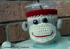 Sock Monkey Coffee Cozy by CrookedHookCreations on Etsy, $10.00