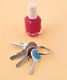 Nail Polish as Key Coder - Differentiate your keys by color-coding them with your favorite nail hues. Lay keys flat and apply a thick coat of a different shade to the top of each one.