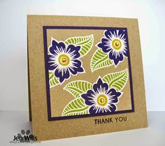 handmade thank you card ... from Muse: Muse Challenge #64  ... kraft ... bold graphic flowers ... white outline ... green and deep purple ... tone on tone stamping on bottom layer ... fabulous card!