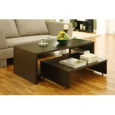 @Overstock - Get organized with a 2-in-1 coffee tableTable is constructed with two tables which can be used separately or completely nested into oneCoffee table features substantially built pocket shelves to provide storage or display spacehttp://www.overstock.com/Home-Garden/2-in-1-Coffee-Table/4374747/product.html?CID=214117 $128.99