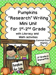 "Pumpkins ""Simple Research"" Writing Mini Unit ~ w/ Literacy and Math printables!!! Great for 1st-2nd Grade!!!!  90 pages of leveled learning to fit the needs of your students!!!!"