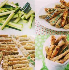 oven to 200C. Slice 3 zucchini into chip-size wedges. Dip zucchini ...
