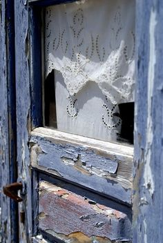 the doors, window, blue doors, lace curtains, white lace