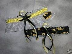 Handmade wedding garters keepsake and toss BATMAN wedding garter set. $28.00, via Etsy.