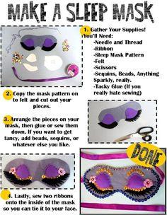 sleep masks, program, summer read, easy crafts for teens, easy summer crafts for teens