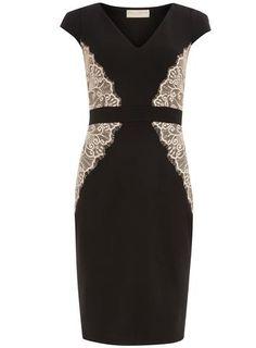 Black and Blush Lace Overlay Dress