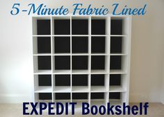 Honey We're Home: Fabric Lined Expedit Bookshelf - Maybe do this instead of painting the back of the bookshelf?