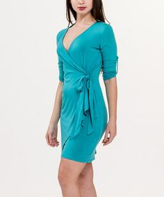 This Baltic Roll-Tab Sleeve Wrap Dress - Women by Biacci is perfect! #zulilyfinds