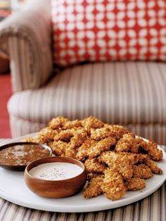 Crispy oven chicken fingers with dip