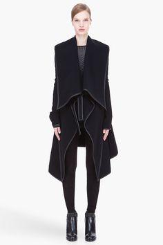 GARETH PUGH black Leather-trimmed draped collar wool Coat