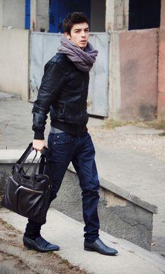 Dark Denim on Black on black on black plus a scarf