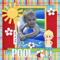 The Pool Page...bright & colorful...  Scrapbook.com.