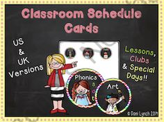Classroom Schedule Cards with special days and clubs!! Enter for your chance to win 1 of 10.  Classroom Schedule Cards with clubs and special days!  (39 pages) from MissLynch'sClass on TeachersNotebook.com (Ends on on 9-7-2014)  This is my latest item in my shop, that I have found REALLY useful in my own class for my visual schedule of my day! Includes UK and US wording and holidays!