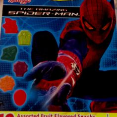 Spider-man Fruit Snacks, cute in Spider-man theme birthday party goodie bags, sold at Dominick's!