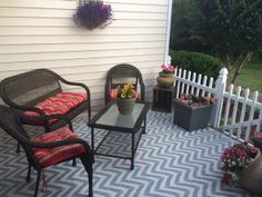 Zig Zag stenciled front porch - how awesome it looks!  ikat zig zag stencil: http://ow.ly/xiBq0
