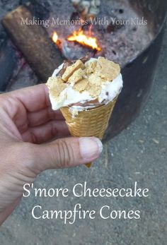 S'more Cheesecake Campfire Cones - these might be the best way to eat s'mores yet.