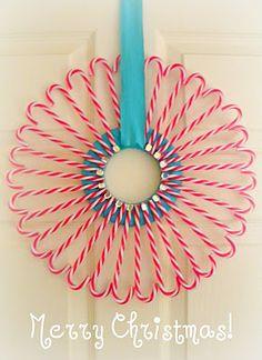 Candy cane wreath...cute