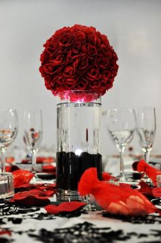 Wedding Centerpieces :  wedding centerpieces roses lights black red reception Center