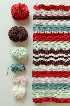 Una combinación de colores preciosa para esta manta a crochet