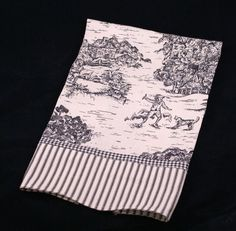 Country French black toile dish towel