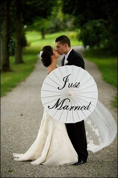 Just Married or Thank You Wedding Parasol. via Etsy.