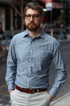 Mens Buttondown Collar Shirt Greycast Floral Chambray