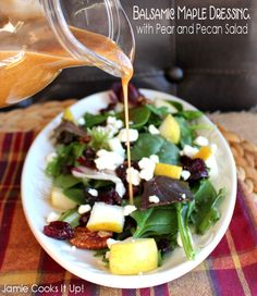 Balsamic Maple Dressing with Pear and Pecan Salad from Jamie Cooks It Up