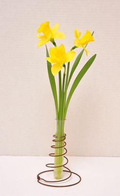 vintage bed spring + test tube = adorable bud vase