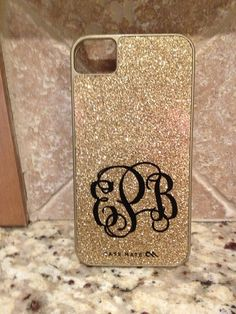 Glittered monogrammed Iphone Case! I WANT!!!