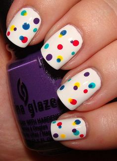 Birthday confetti nails