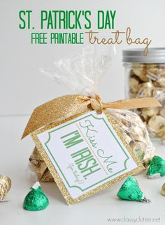 """Kiss Me, I'm Irish (for today!)"" St Patricks Day Treat bag with free printable... there's a printable for the actual Irish too! :) treat bags, bag toppers, gift ideas, krispie treats, st patricks day, hershey kisses, free printabl, parti idea, stpatrick"