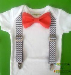 Baby Boy Clothes - Coral Bow Tie Onesie - First Birthday Boy Onesie - Grey Chevron Suspender Onesie - Coming Home Outfit Boy - Tuxedo Onesie on Etsy, $19.00