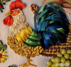 bordado usando, ribbon embroidery stitches, cinta, ribbon art, chicken idea, roosters, ribbons, silk ribbon embroidery, ribbon embroideri