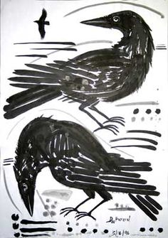 Crows, sumi ink painting
